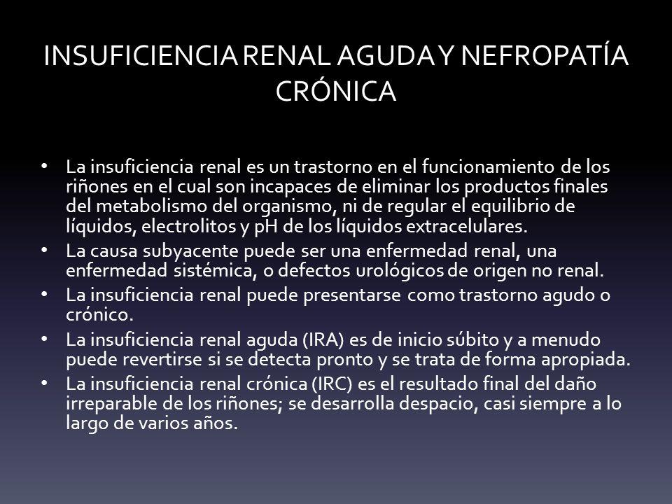 INSUFICIENCIA RENAL AGUDA Y NEFROPATÍA CRÓNICA La insuficiencia renal es un trastorno en el funcionamiento de los riñones en el cual son incapaces de