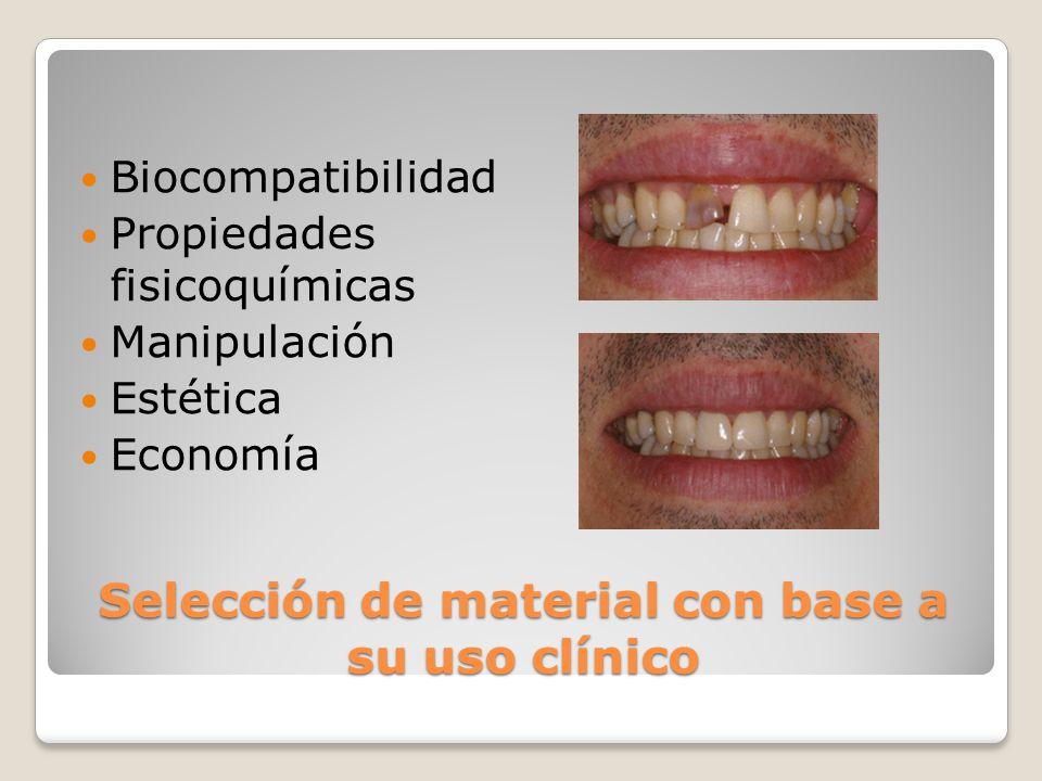 Selección de material con base a su uso clínico Biocompatibilidad Propiedades fisicoquímicas Manipulación Estética Economía
