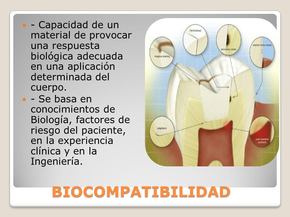 BIOCOMPATIBILIDAD - Capacidad de un material de provocar una respuesta biológica adecuada en una aplicación determinada del cuerpo. - Se basa en conoc
