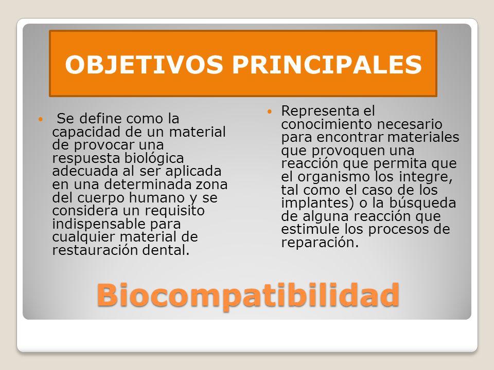 Biocompatibilidad Se define como la capacidad de un material de provocar una respuesta biológica adecuada al ser aplicada en una determinada zona del