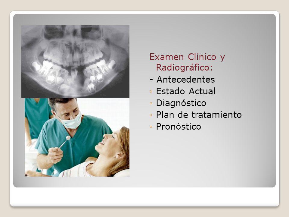 Examen Clínico y Radiográfico: - Antecedentes Estado Actual Diagnóstico Plan de tratamiento Pronóstico