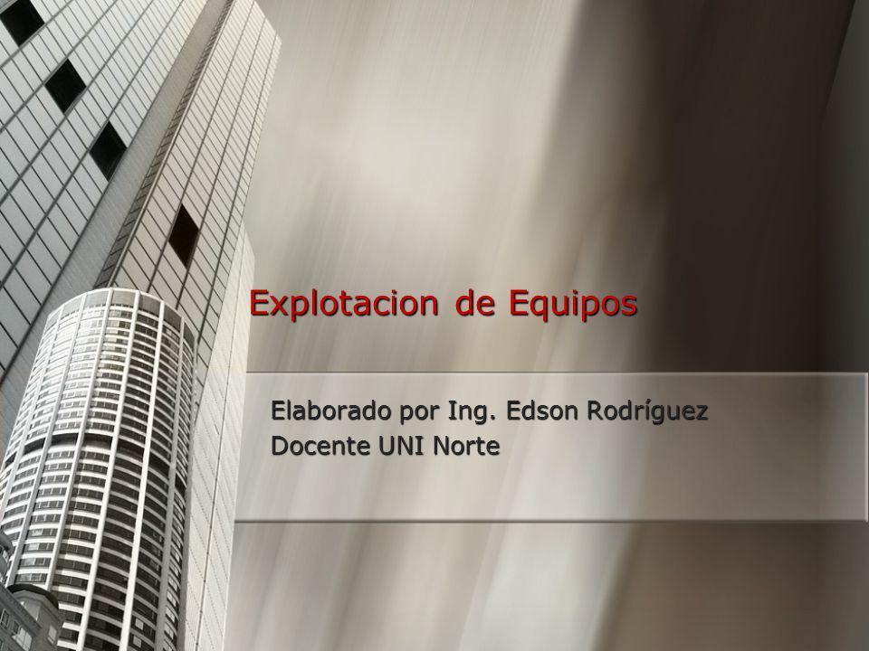 Explotacion de Equipos Elaborado por Ing. Edson Rodríguez Docente UNI Norte