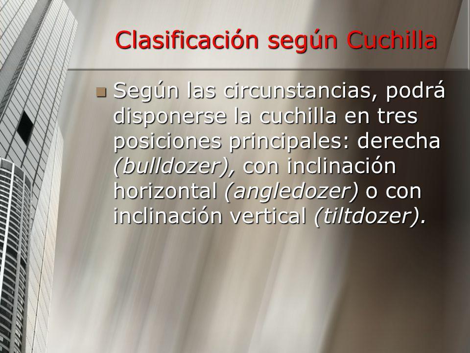 Clasificación según Cuchilla Según las circunstancias, podrá disponerse la cuchilla en tres posiciones principales: derecha (bulldozer), con inclinaci