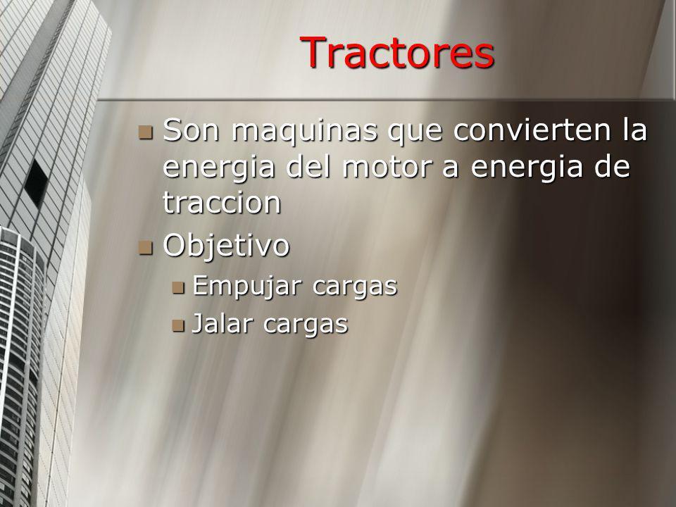 Tractores Son maquinas que convierten la energia del motor a energia de traccion Son maquinas que convierten la energia del motor a energia de traccio