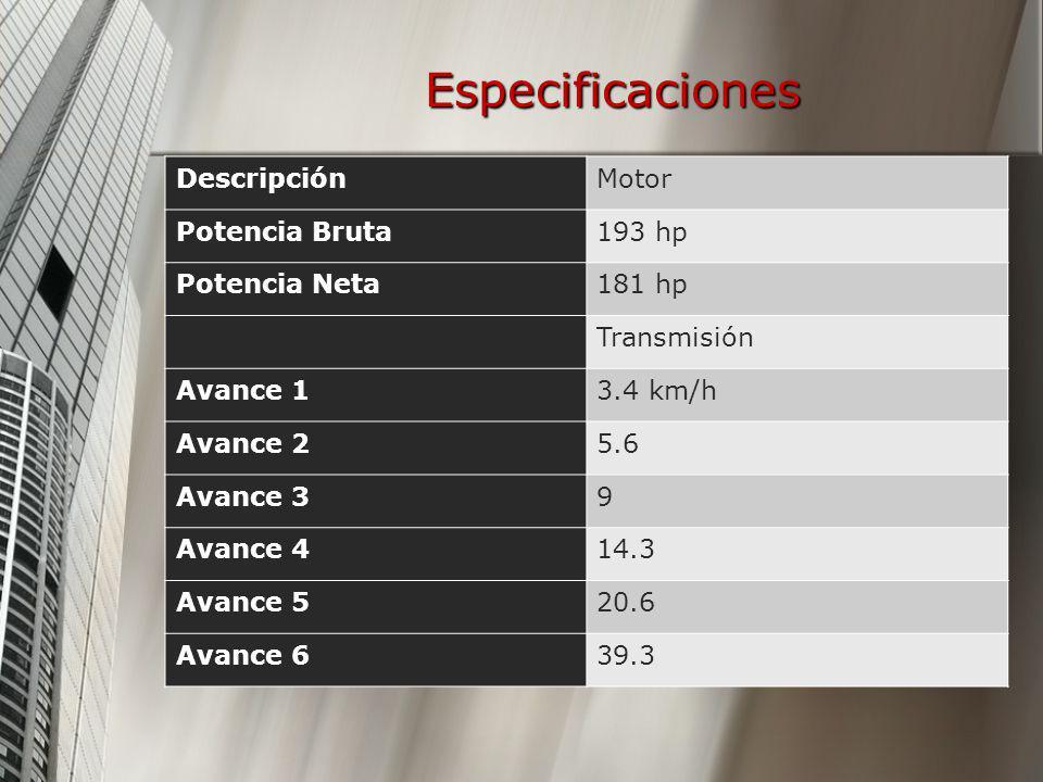 Especificaciones DescripciónMotor Potencia Bruta193 hp Potencia Neta181 hp Transmisión Avance 13.4 km/h Avance 25.6 Avance 39 Avance 414.3 Avance 520.