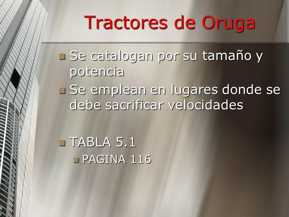 Tractores de Oruga Se catalogan por su tamaño y potencia Se catalogan por su tamaño y potencia Se emplean en lugares donde se debe sacrificar velocida