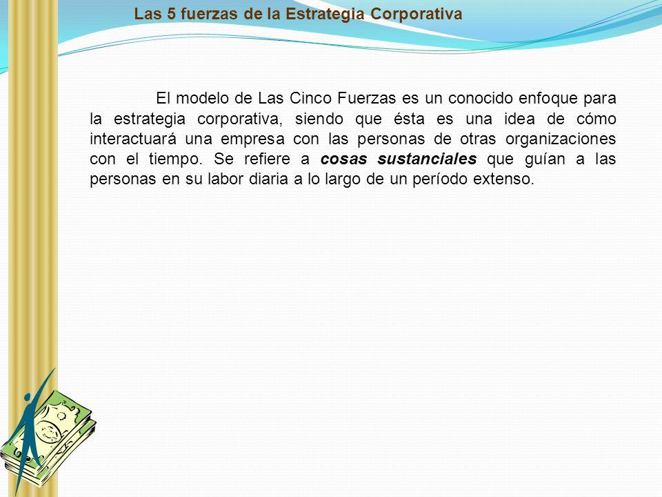 Las 5 fuerzas de la Estrategia Corporativa El modelo de Las Cinco Fuerzas es un conocido enfoque para la estrategia corporativa, siendo que ésta es un
