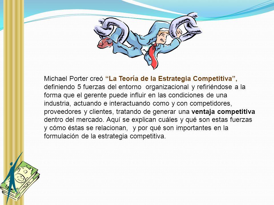 Michael Porter creó La Teoría de la Estrategia Competitiva, definiendo 5 fuerzas del entorno organizacional y refiriéndose a la forma que el gerente p