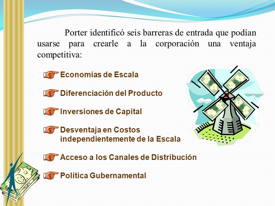 Porter identificó seis barreras de entrada que podían usarse para crearle a la corporación una ventaja competitiva: Economías de Escala Diferenciación