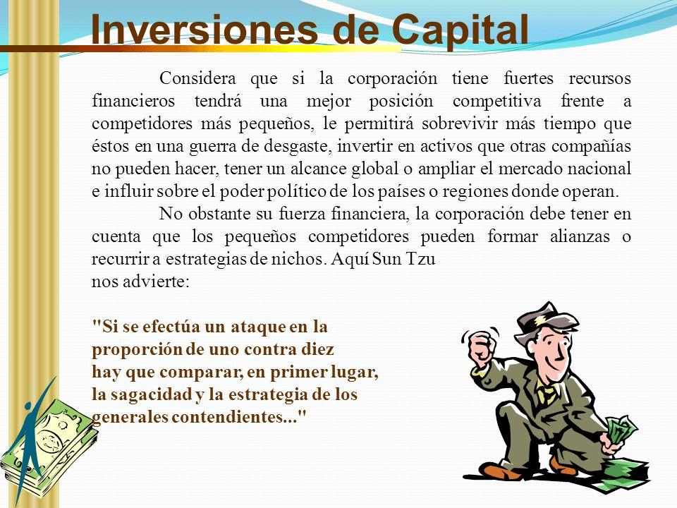 Inversiones de Capital Considera que si la corporación tiene fuertes recursos financieros tendrá una mejor posición competitiva frente a competidores
