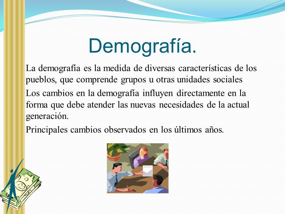 Demografía. La demografía es la medida de diversas características de los pueblos, que comprende grupos u otras unidades sociales Los cambios en la de