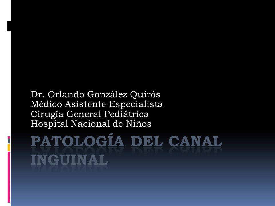 Dr. Orlando González Quirós Médico Asistente Especialista Cirugía General Pediátrica Hospital Nacional de Niños