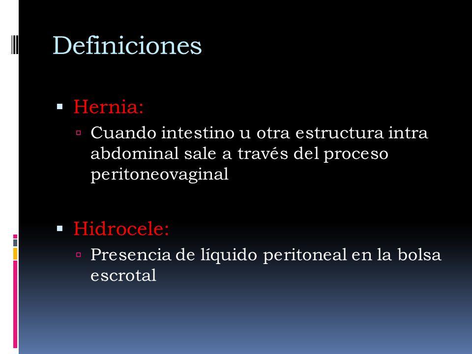 Definiciones Hernia: Cuando intestino u otra estructura intra abdominal sale a través del proceso peritoneovaginal Hidrocele: Presencia de líquido per