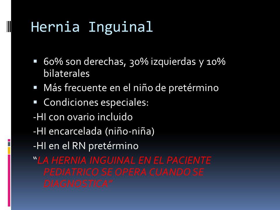 Hernia Inguinal Puede comprometer la vida o resultar en la pérdida de un testículo, ovario o una porción de intestino si ocurre encarcelación y estrangulación
