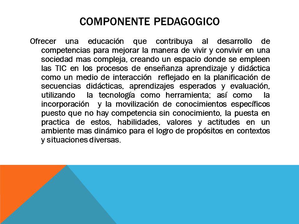 COMPONENTE PEDAGOGICO Ofrecer una educación que contribuya al desarrollo de competencias para mejorar la manera de vivir y convivir en una sociedad mas compleja, creando un espacio donde se empleen las TIC en los procesos de enseñanza aprendizaje y didáctica como un medio de interacción reflejado en la planificación de secuencias didácticas, aprendizajes esperados y evaluación, utilizando la tecnología como herramienta; así como la incorporación y la movilización de conocimientos específicos puesto que no hay competencia sin conocimiento, la puesta en practica de estos, habilidades, valores y actitudes en un ambiente mas dinámico para el logro de propósitos en contextos y situaciones diversas.