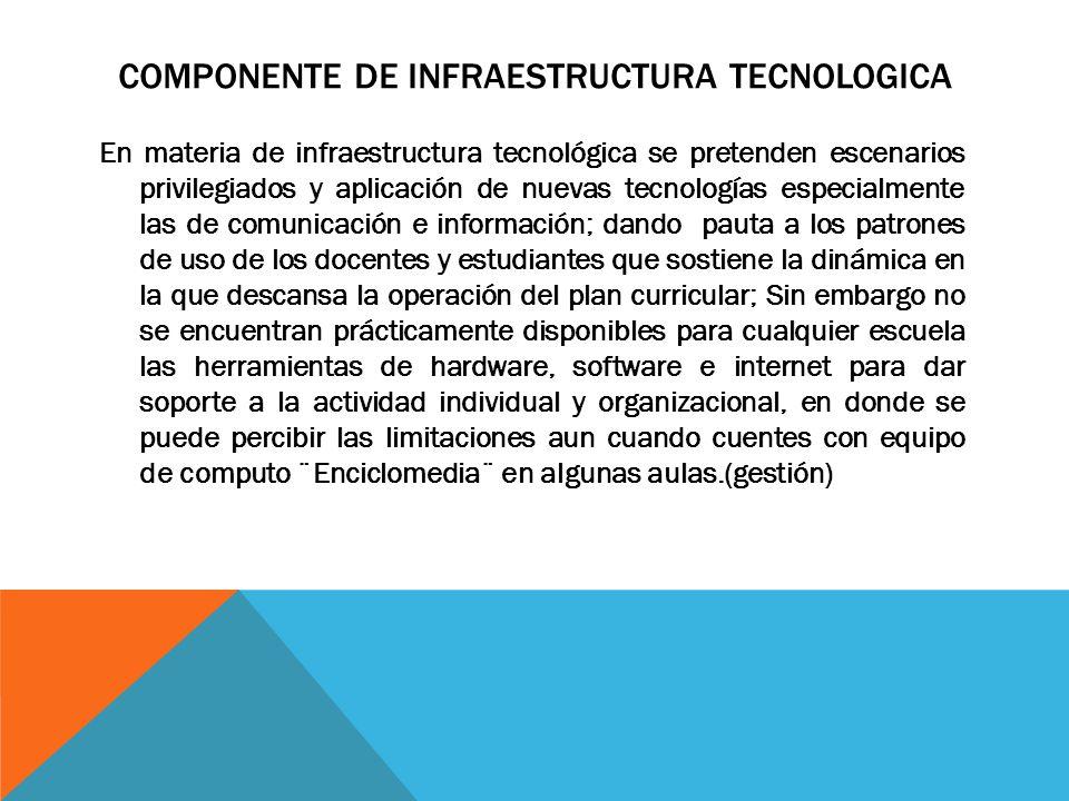 COMPONENTE DE INFRAESTRUCTURA TECNOLOGICA En materia de infraestructura tecnológica se pretenden escenarios privilegiados y aplicación de nuevas tecno