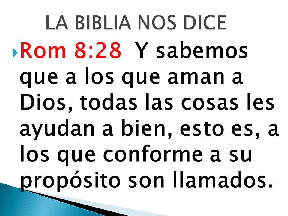 Rom 8:28 Y sabemos que a los que aman a Dios, todas las cosas les ayudan a bien, esto es, a los que conforme a su propósito son llamados.