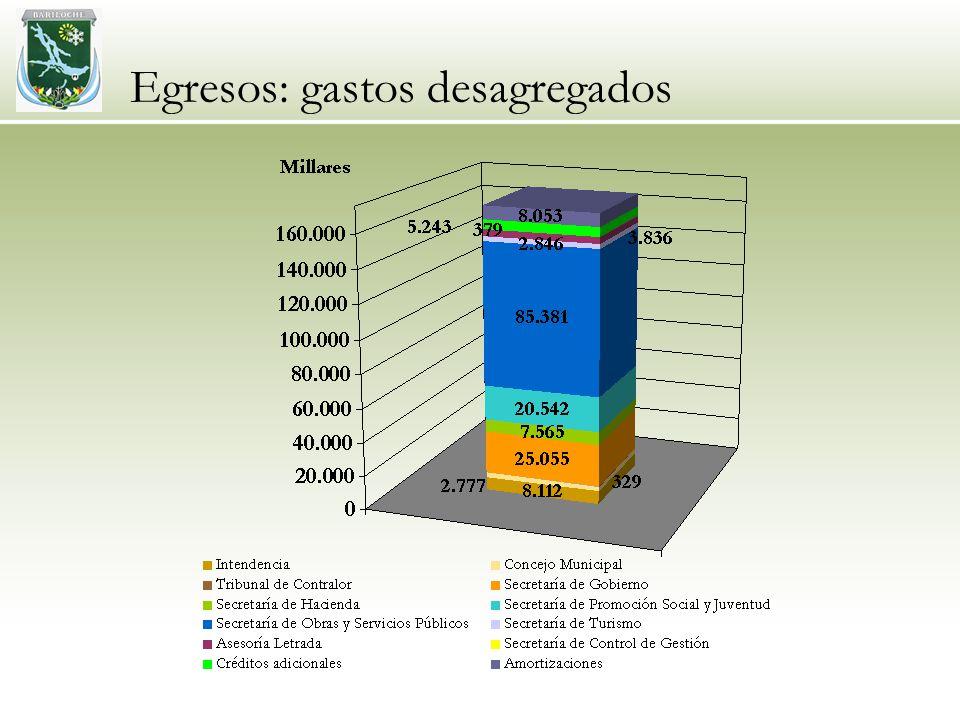 Egresos: gastos desagregados