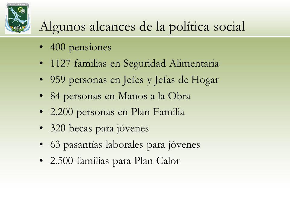 Algunos alcances de la política social 400 pensiones 1127 familias en Seguridad Alimentaria 959 personas en Jefes y Jefas de Hogar 84 personas en Manos a la Obra 2.200 personas en Plan Familia 320 becas para jóvenes 63 pasantías laborales para jóvenes 2.500 familias para Plan Calor