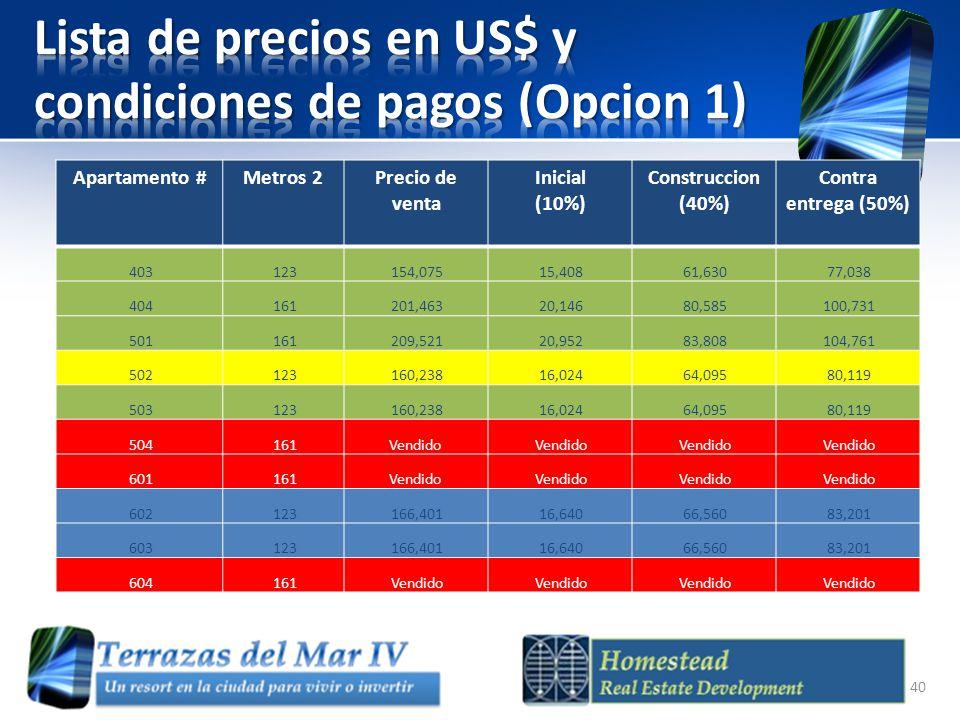 Apartamento #Metros 2Precio de venta Inicial (10%) Construccion (40%) Contra entrega (50%) 403 123 154,075 15,408 61,630 77,038 404 161 201,463 20,146