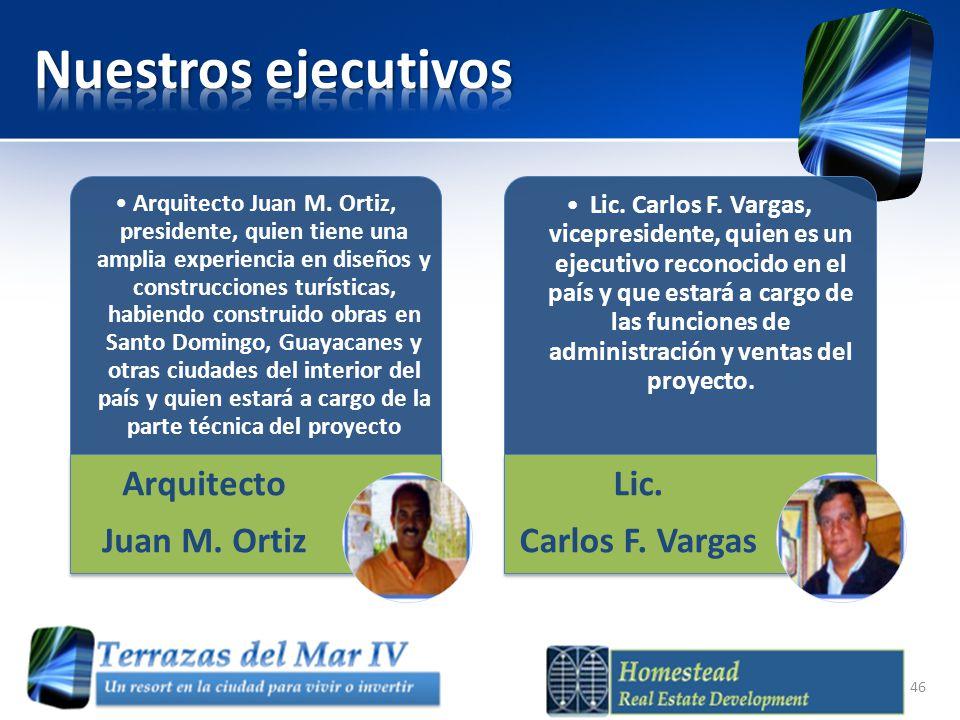 Arquitecto Juan M. Ortiz, presidente, quien tiene una amplia experiencia en diseños y construcciones turísticas, habiendo construido obras en Santo Do