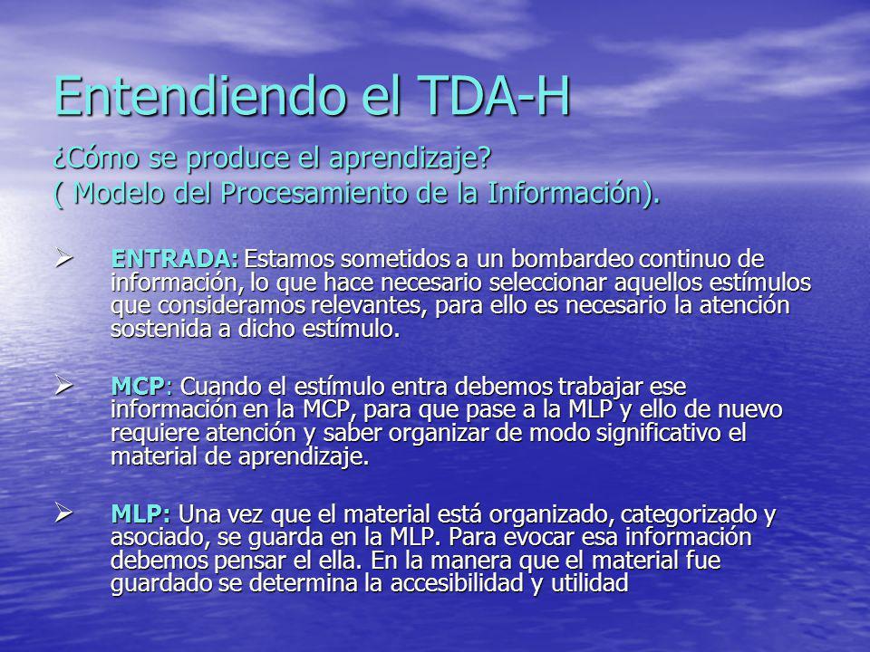 Entendiendo el TDA-H ¿Cómo se produce el aprendizaje? ( Modelo del Procesamiento de la Información). ENTRADA: Estamos sometidos a un bombardeo continu