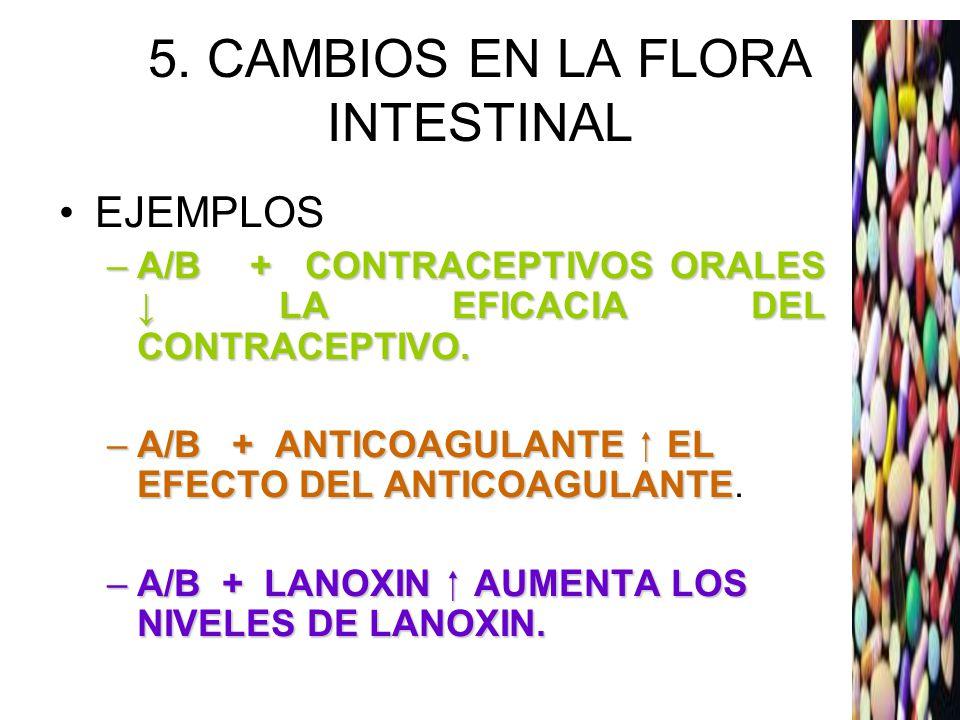 5. CAMBIOS EN LA FLORA INTESTINAL EJEMPLOS –A/B + CONTRACEPTIVOS ORALES LA EFICACIA DEL CONTRACEPTIVO. –A/B + ANTICOAGULANTE EL EFECTO DEL ANTICOAGULA