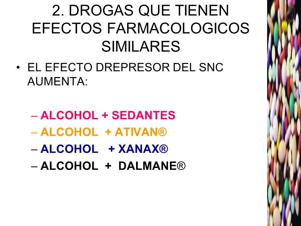 2. DROGAS QUE TIENEN EFECTOS FARMACOLOGICOS SIMILARES EL EFECTO DREPRESOR DEL SNC AUMENTA: –ALCOHOL + SEDANTES –ALCOHOL + ATIVAN® –ALCOHOL + XANAX® –A