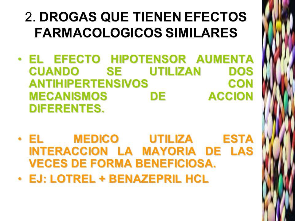 2. DROGAS QUE TIENEN EFECTOS FARMACOLOGICOS SIMILARES EL EFECTO HIPOTENSOR AUMENTA CUANDO SE UTILIZAN DOS ANTIHIPERTENSIVOS CON MECANISMOS DE ACCION D