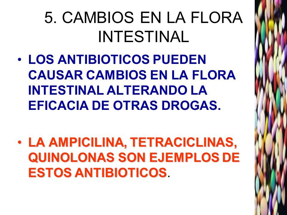 5. CAMBIOS EN LA FLORA INTESTINAL LOS ANTIBIOTICOS PUEDEN CAUSAR CAMBIOS EN LA FLORA INTESTINAL ALTERANDO LA EFICACIA DE OTRAS DROGAS. LA AMPICILINA,