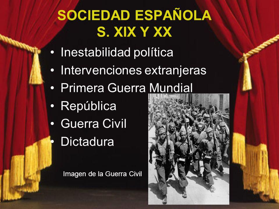 SOCIEDAD ESPAÑOLA S. XIX Y XX Inestabilidad política Intervenciones extranjeras Primera Guerra Mundial República Guerra Civil Dictadura Imagen de la G