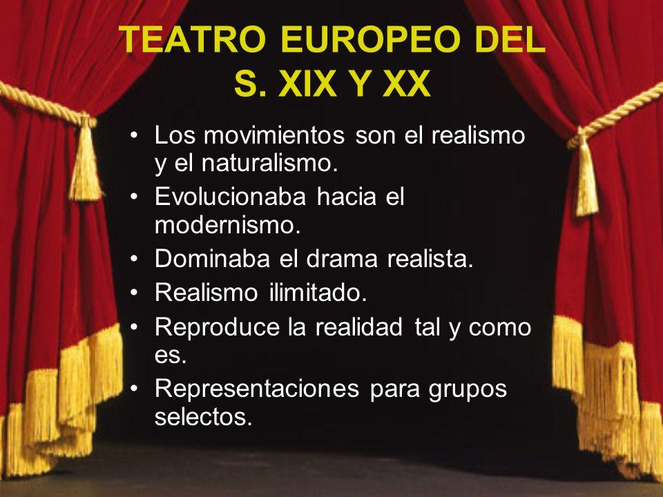 TEATRO EUROPEO DEL S. XIX Y XX Los movimientos son el realismo y el naturalismo. Evolucionaba hacia el modernismo. Dominaba el drama realista. Realism