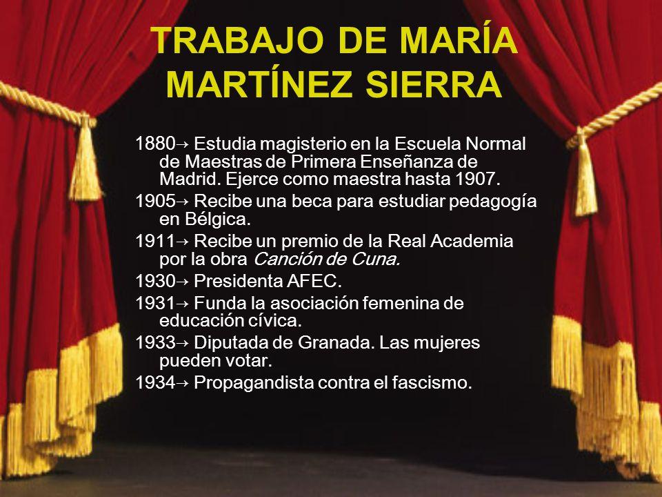TRABAJO DE MARÍA MARTÍNEZ SIERRA 1880 Estudia magisterio en la Escuela Normal de Maestras de Primera Enseñanza de Madrid. Ejerce como maestra hasta 19