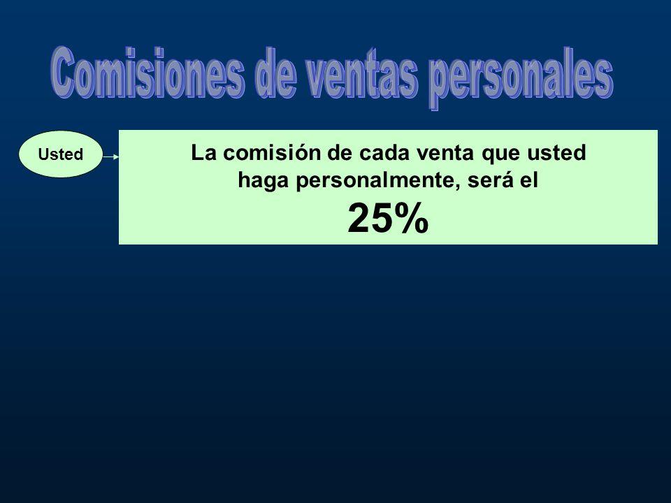 Usted La comisión de cada venta que usted haga personalmente, será el 25%
