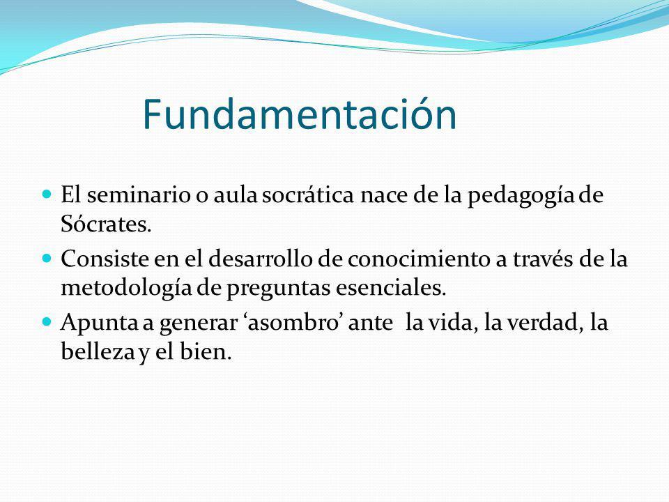 Fundamentación El seminario o aula socrática nace de la pedagogía de Sócrates. Consiste en el desarrollo de conocimiento a través de la metodología de