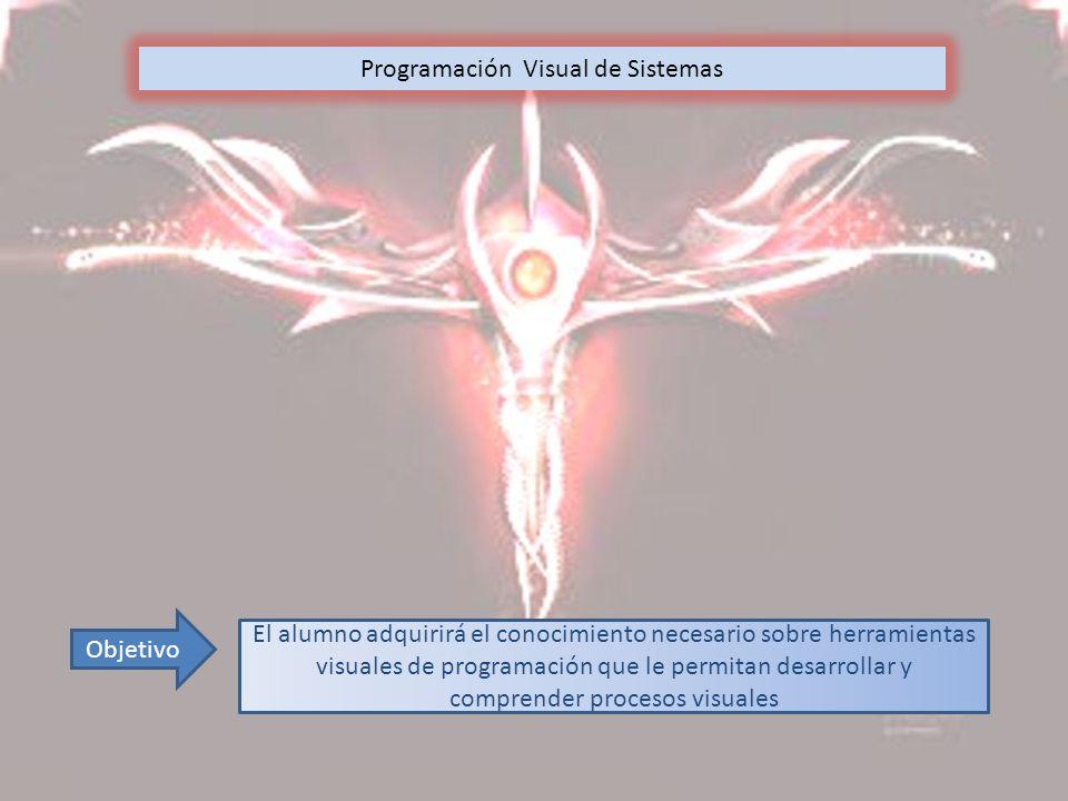 Programación Visual de Sistemas Objetivo El alumno adquirirá el conocimiento necesario sobre herramientas visuales de programación que le permitan desarrollar y comprender procesos visuales