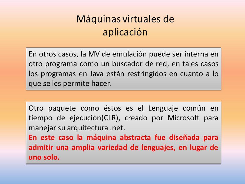 Máquinas virtuales de aplicación En otros casos, la MV de emulación puede ser interna en otro programa como un buscador de red, en tales casos los programas en Java están restringidos en cuanto a lo que se les permite hacer.