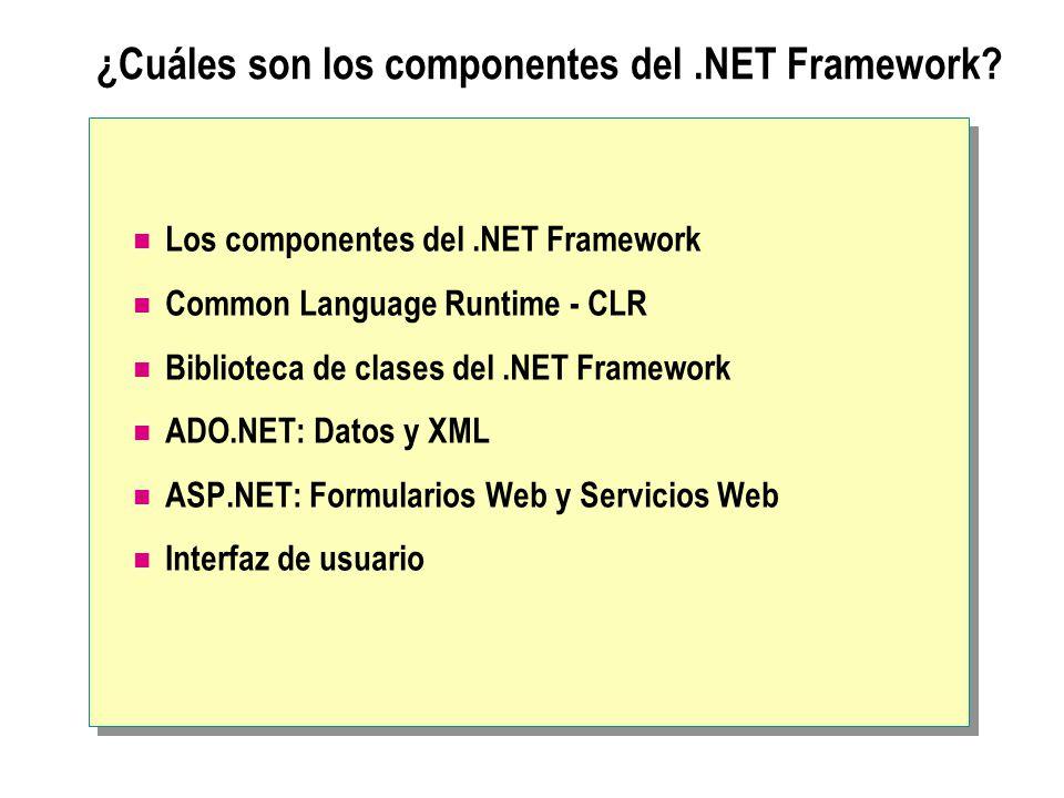 ¿Cuáles son los componentes del.NET Framework? Los componentes del.NET Framework Common Language Runtime - CLR Biblioteca de clases del.NET Framework