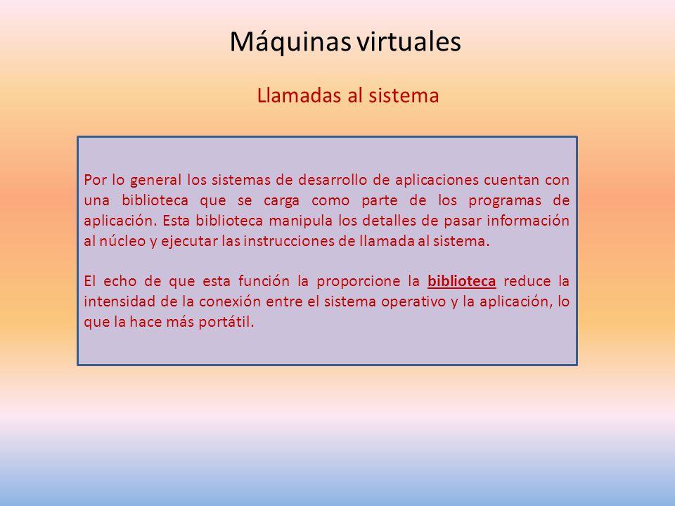Máquinas virtuales Llamadas al sistema Por lo general los sistemas de desarrollo de aplicaciones cuentan con una biblioteca que se carga como parte de los programas de aplicación.