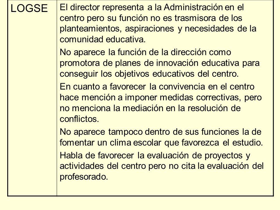 LOGSE El director representa a la Administración en el centro pero su función no es trasmisora de los planteamientos, aspiraciones y necesidades de la comunidad educativa.