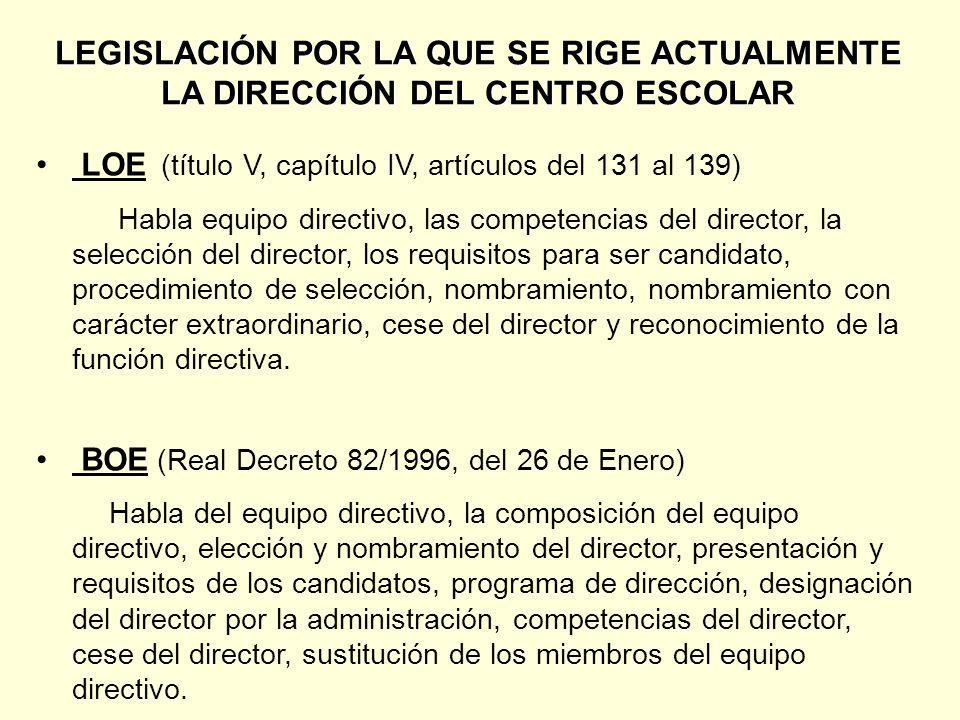 NOMBRAMIENTO CON CARÁCTER EXTRAORDINARIO LOE La Administración educativa nombrará director a un profesor funcionario por un periodo máximo de cuatro años.