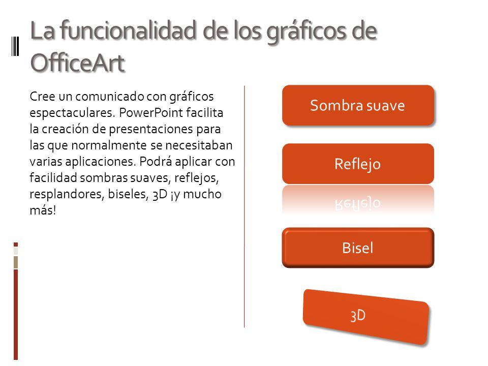 La funcionalidad de los gráficos de OfficeArt Cree un comunicado con gráficos espectaculares. PowerPoint facilita la creación de presentaciones para l