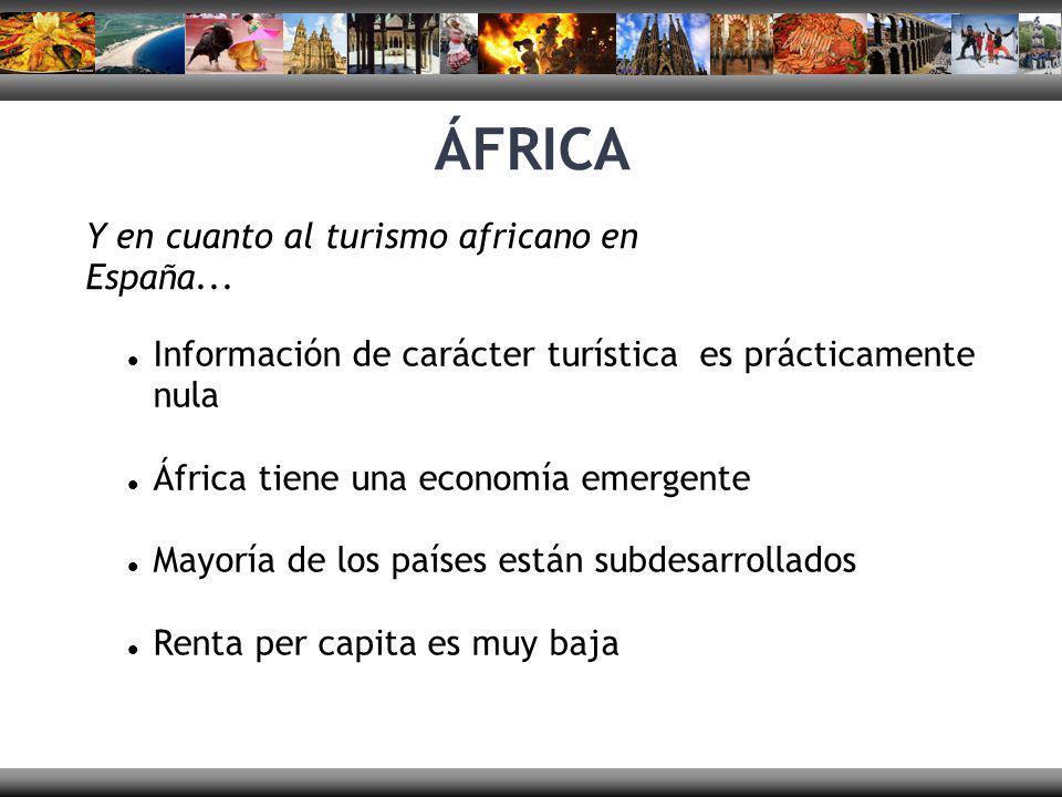 ÁFRICA Y en cuanto al turismo africano en España... Información de carácter turística es prácticamente nula África tiene una economía emergente Mayorí