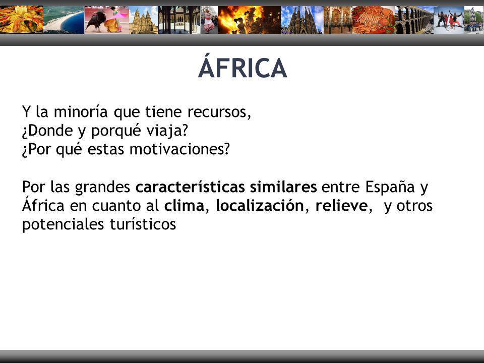 Y la minoría que tiene recursos, ¿Donde y porqué viaja? ¿Por qué estas motivaciones? Por las grandes características similares entre España y África e