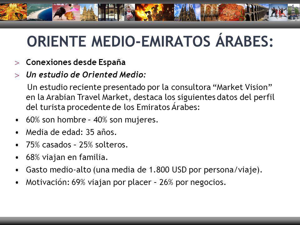 ORIENTE MEDIO-EMIRATOS ÁRABES: En este país existe un gran conocimiento de España y de su historia, principalmente en lo que respecta a Andalucía, por sus raíces histórico-culturales.