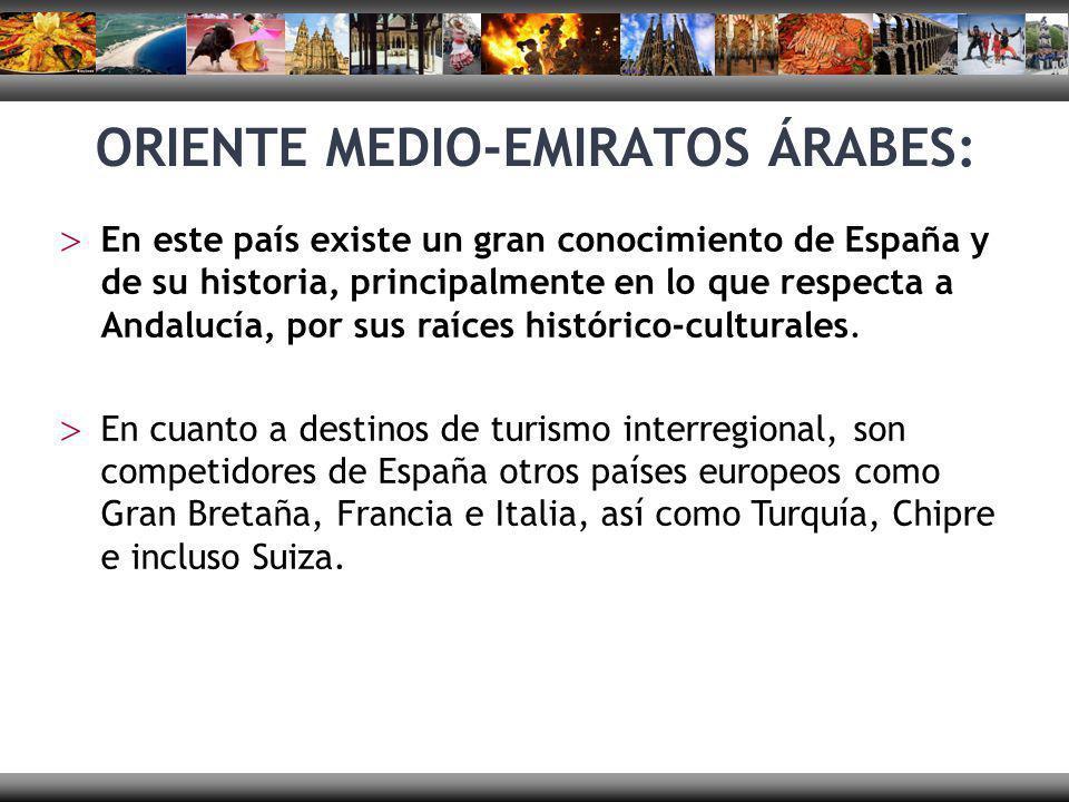 ORIENTE MEDIO-EMIRATOS ÁRABES: En este país existe un gran conocimiento de España y de su historia, principalmente en lo que respecta a Andalucía, por