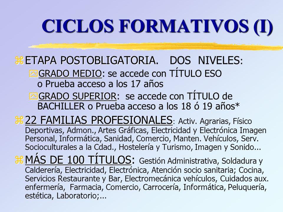zTITULO DE BACHILLER, da acceso a zTITULO DE BACHILLER, da acceso a: yCiclo Formativo de Grado Superior yUniversidad (necesita PAU, nota de 5 hasta 14 *) : x60% Expediente Bachillerato (1º y 2º) x Prueba Acceso Universidad: 40% Parte GENERAL: Obligatoria –Comentario de texto de Lengua Castellana y Literatura –Lengua Extranjera I (Expresión y comprensión oral y escrita) –Texto Histórico o Filosófico –Una Materia propia de Modalidad a elegir por el alumno/a + Parte ESPECIFICA: Voluntaria, sube nota, de hasta dos materias propias de modalidad * (+ 0.1 ó 0.2 X nota cada materia) BACHILLERATO (VI)