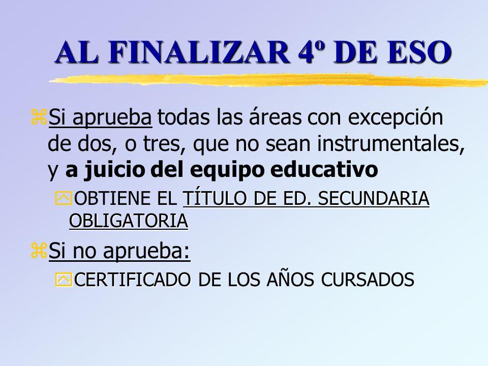 zSi aprueba todas las áreas con excepción de dos, o tres, que no sean instrumentales, y a juicio del equipo educativo TÍTULO DE ED.