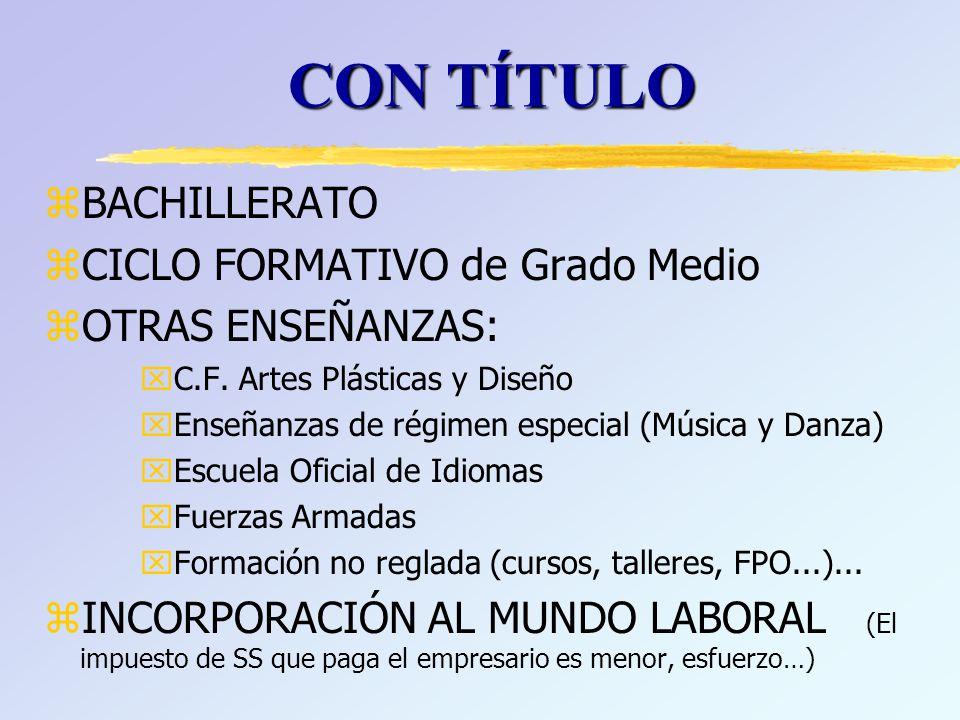 zBACHILLERATO zCICLO FORMATIVO de Grado Medio zOTRAS ENSEÑANZAS: xC.F.