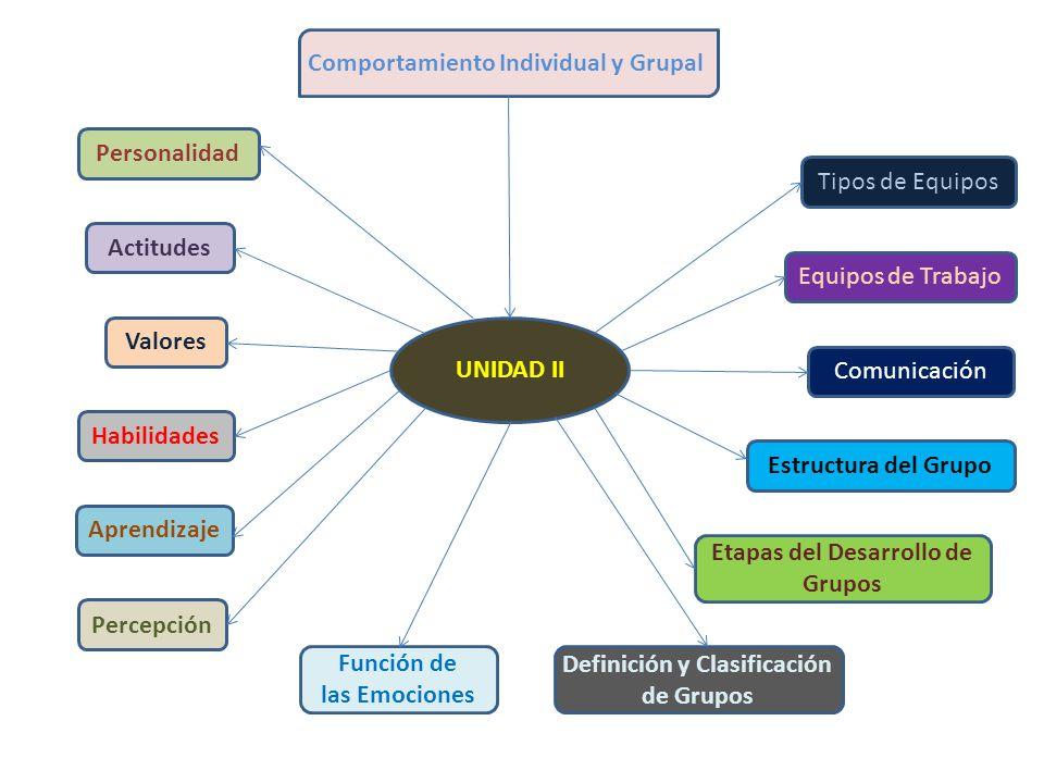 Comportamiento Individual y Grupal UNIDAD II Personalidad Actitudes Valores Habilidades Aprendizaje Percepción Función de las Emociones Definición y C